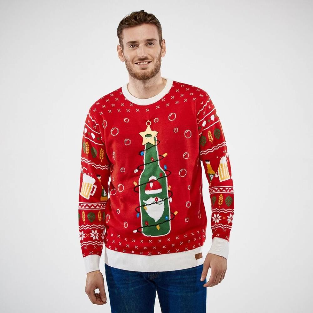 f5e8d6e3 Julegenser Juleøl med Flaskeåpner & LED Lys Unisex