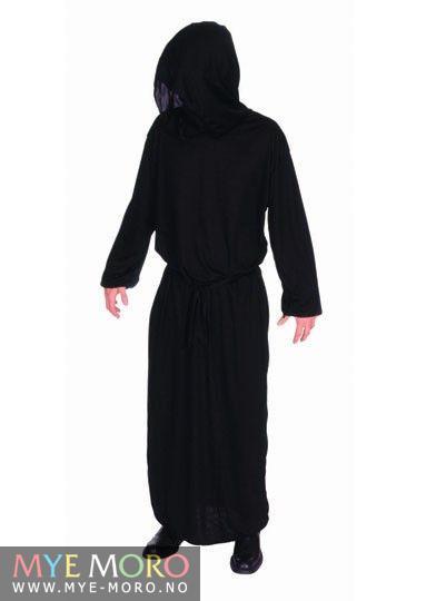 svart kappe med hette
