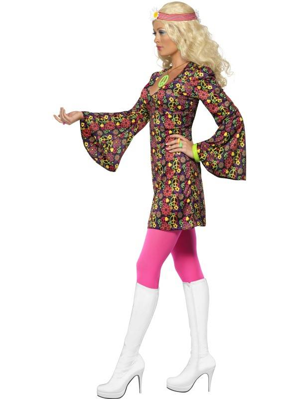 86a09331 1960`s CND Hippie Kostyme Dame