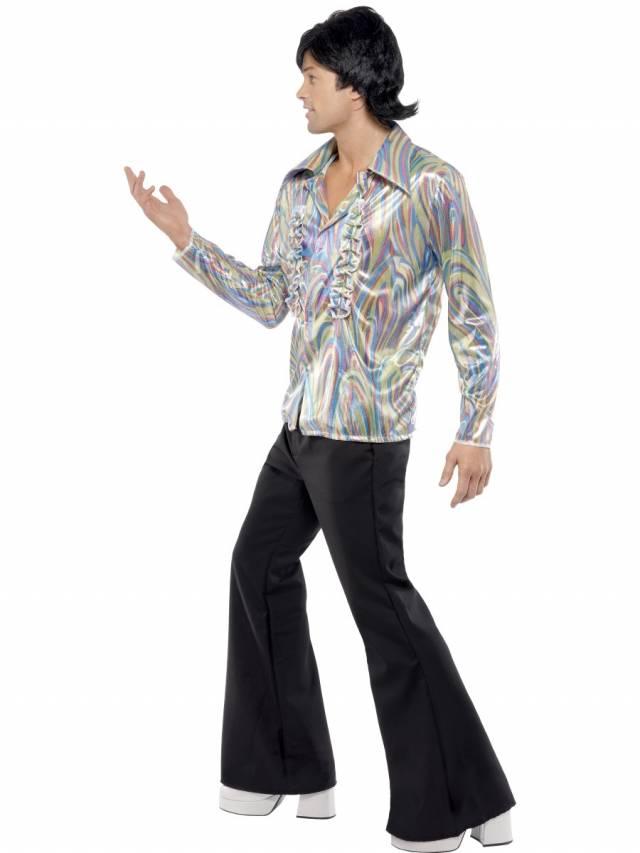 1970`s Retro Kostyme Herre Blå Bukse og Skjorte