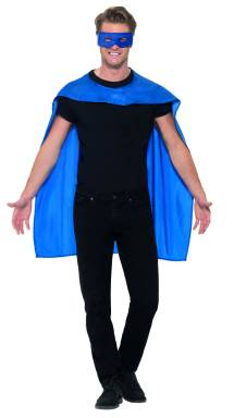 Superhelt maskot med en stor blå kappe