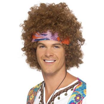 Afro Hippie Parykk Brun med Pannebånd